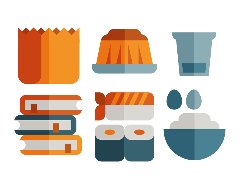 Food icon set of pudding, sushi, eggs, books and bag, illustration by Francesco Faggiano illustrator