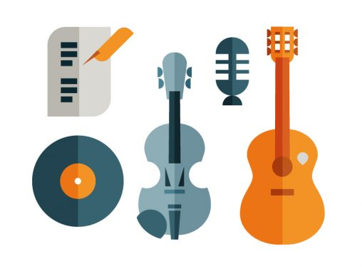 Music icon set of violin, guitar, microphone, music sheets and vinyl disc, illustration by Francesco Faggiano illustrator