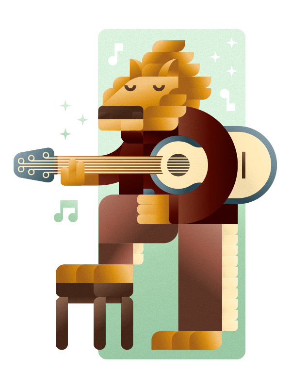 Elvis lion playing a country guitar, illustration by Francesco Faggiano illustrator