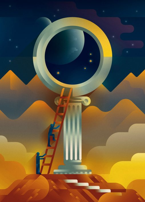A couple of men climbing a wooden staircase on a big magnifying glass similar to a Greek temple to see the stars in the night sky, illustration by Francesco Faggiano illustrator