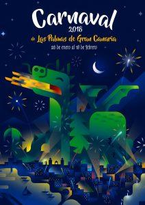 Winner illustration for the contest of Las Palmas de Gran Canaria's Carnival in 2018, , illustration by Francesco Faggiano illustrator