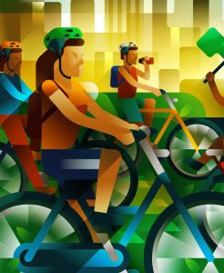 A young girl on a bike enjoying the ride with hundreds of people in São Paulo, illustration by Francesco Faggiano illustrator