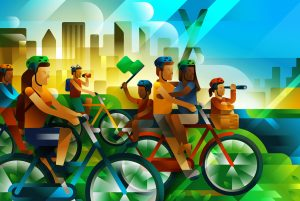 "Illustration for the Brazilian bike event ""Pedalar 2017"", a bike walk for families in São Paulo, Brazil, illustration by Francesco Faggiano illustrator"